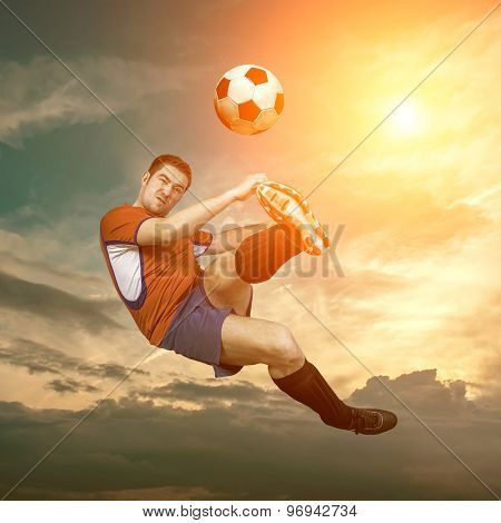Football player with ball in action outdoors