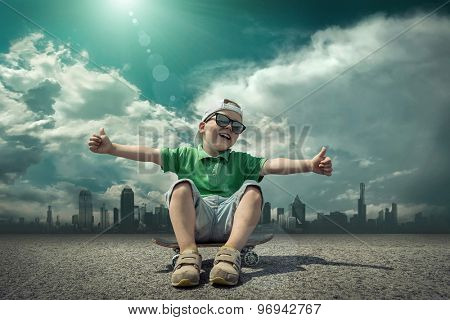 Child with skateboard under sunlight.