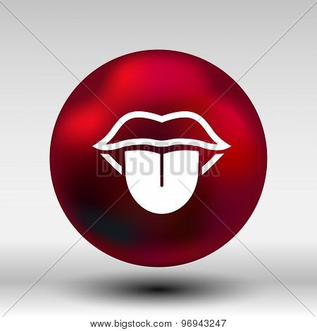 Tongue icon vector isolated human fun anatomical