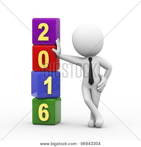 3D Businessman With New Year 2016 Cubes