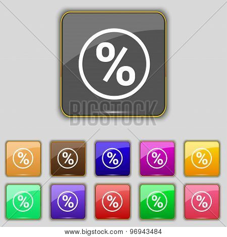 Percentage Discount Icon Sign. Set With Eleven Colored Buttons For Your Site. Vector