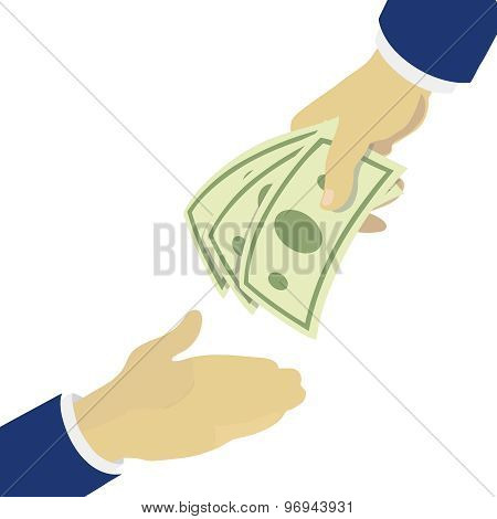 Creative illustration hand holding green banknotes, giving to other hand.
