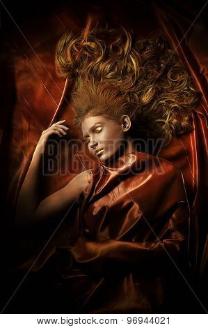 woman with bronze skin silk
