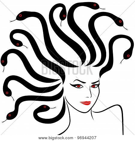 Female Head As A Medusa Gorgon