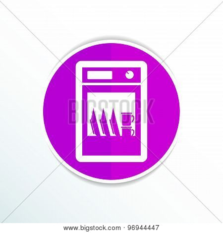 icon dishwasher dishe washer vector kitchen clean