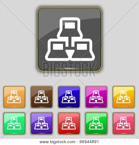 Local Area Network Icon Sign. Set With Eleven Colored Buttons For Your Site. Vector