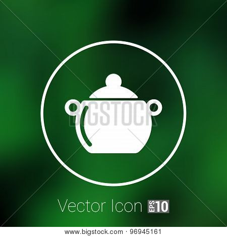 Logo pot casserole cooking Vector image sign