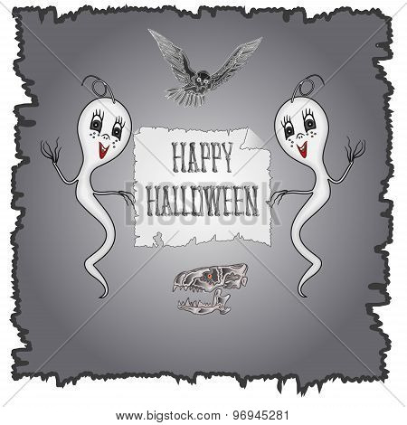 Happy Halloween Ghosts And Owl Vector