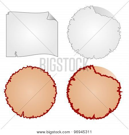 Round Frames Or Damaged Equipment And Tattered Paper Vector
