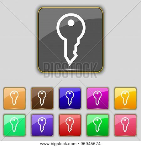 Key Icon Sign. Set With Eleven Colored Buttons For Your Site. Vector