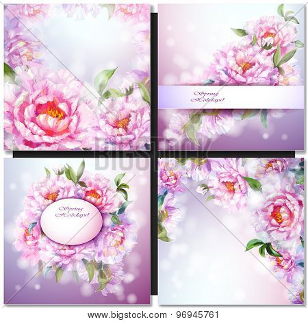 Set of oil painted flower backgrounds