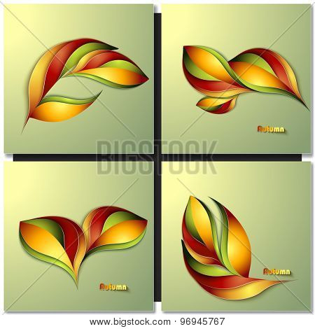 Set of Abstract autumn different color leaves.  Paper design.