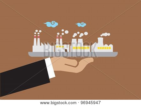 Hand Holding Tray With Industrial Buildings Vector Illustration