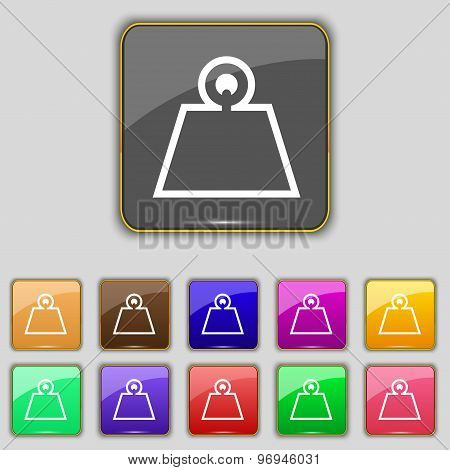Weight Icon Sign. Set With Eleven Colored Buttons For Your Site. Vector