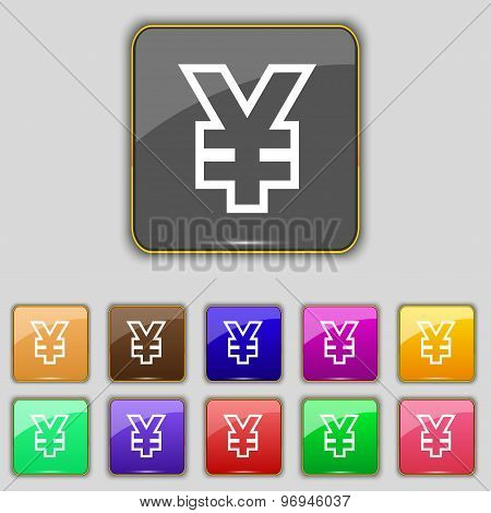 Yen Jpy Icon Sign. Set With Eleven Colored Buttons For Your Site. Vector