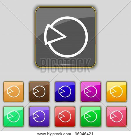 Pie Chart Graph Icon Sign. Set With Eleven Colored Buttons For Your Site. Vector