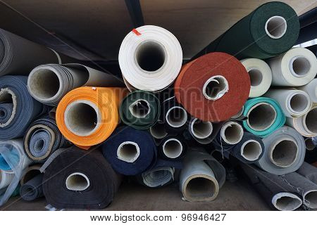 Stack Of Fabric Roll