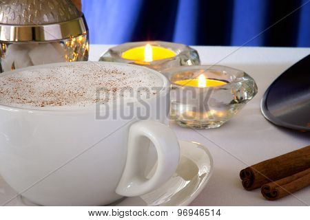 Coffee cup,coffee beans and candles