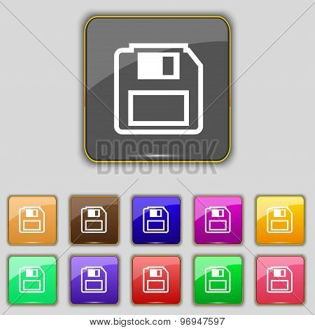 Floppy Disk Icon Sign. Set With Eleven Colored Buttons For Your Site. Vector