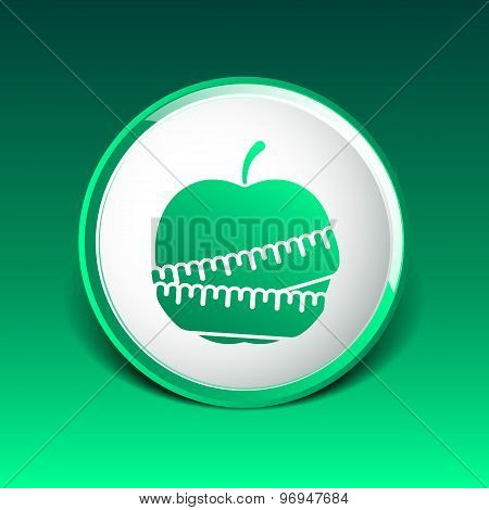 Vector Slimming apple icon slim weight diet