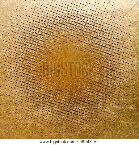 Golden grunge background with round elements