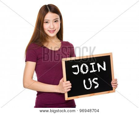 Young student hold with chalkboard showing phrase of join us