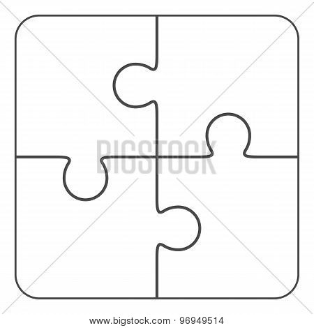 Jigsaw puzzle blank vector 2x2, four pieces