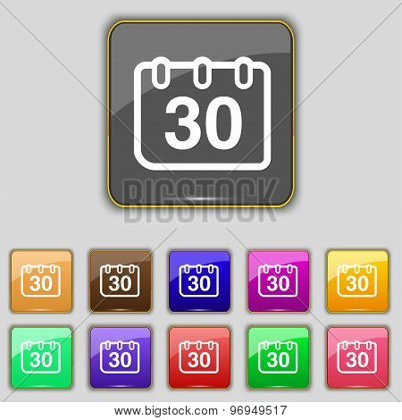 Calendar Icon Sign. Set With Eleven Colored Buttons For Your Site. Vector