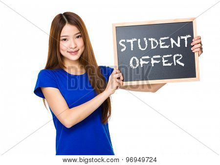 Beautiful asian women asian hold wood blackboard showing phrase of student offer