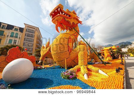 MENTON FRANCE - FEBRUARY 20: Dragon statue on Lemon Festival (Fete du Citron) on the French Riviera.