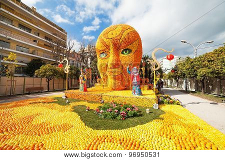 MENTON FRANCE - FEBRUARY 20: Art made of lemons and oranges in the famous Lemon Festival (Fete du Ci
