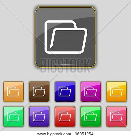 Folder Icon Sign. Set With Eleven Colored Buttons For Your Site. Vector