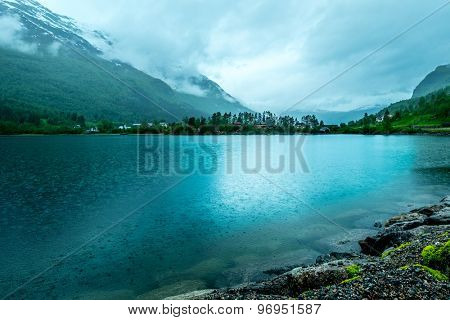Rainy cloudy landscape of Norway.