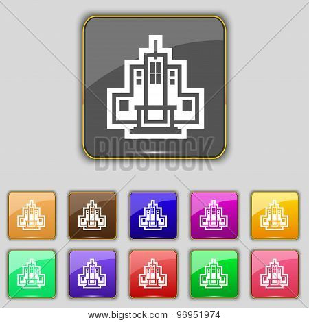 Skyscraper Icon Sign. Set With Eleven Colored Buttons For Your Site. Vector