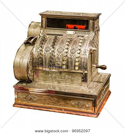 Vintage old cash register isolated on white background