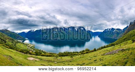 Panorama Hardanger fjorden. Beautiful Nature Norway natural landscape.
