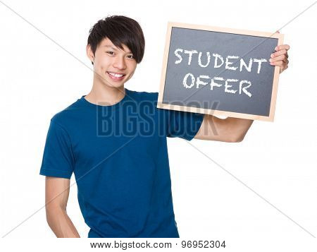 Asian man hold with blackboard and showing student offer