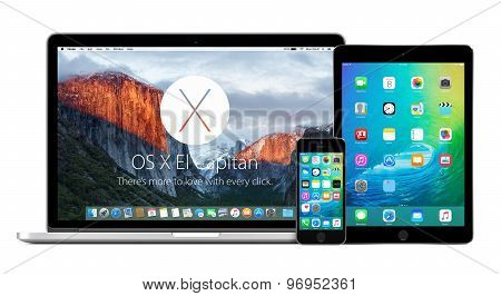 Apple Macbook With Os X El Capitan And Iphone Ipad With Ios 9 On The Displays