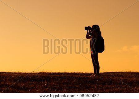 Little hiker with binoculars