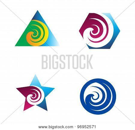Swirl abstract logo element set