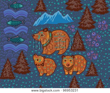 Decorative seamless pattern with bears and fishes. Vector illustration