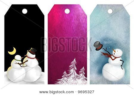 Tags with winter designs