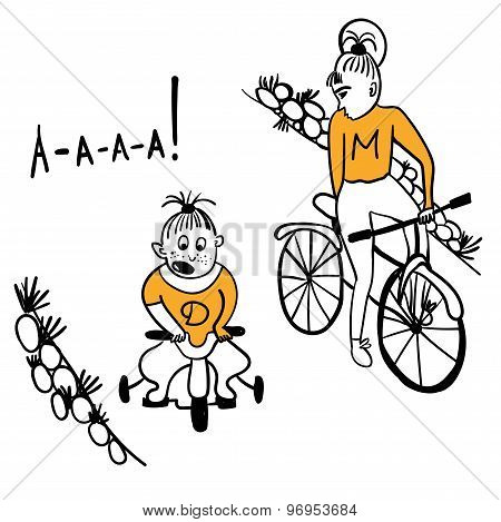Mother and daughter cyclists comic illustration