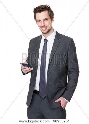 Caucasian businessman use of smartphone