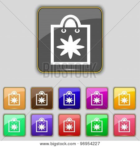 Shopping Bag Icon Sign. Set With Eleven Colored Buttons For Your Site. Vector