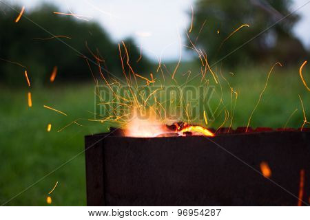 barbecue sparks fly from evening dinner
