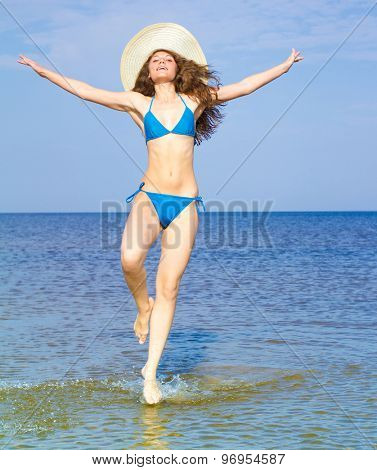 Jumping Happy On a Sunny Day