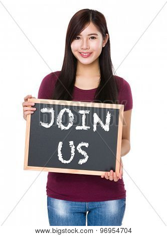 Asian woman with chalkboard showing join us on board