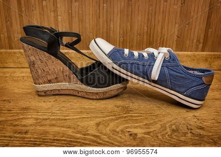 Choice Of Shoes - Sneakers Or Sandals