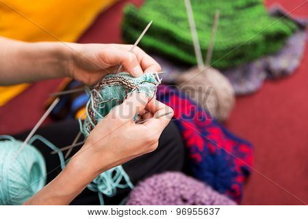 Closeup Of Crafting Hands With Wool